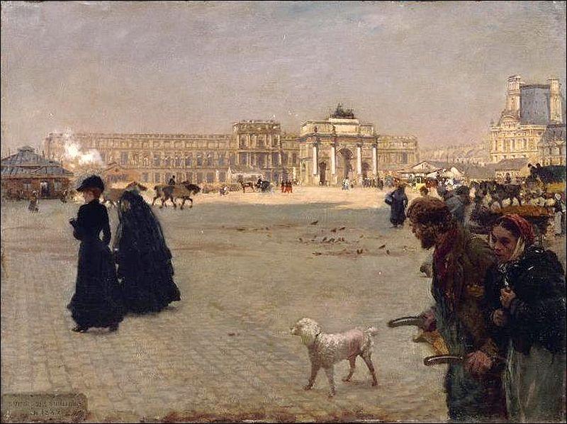 La place du Carrousel, ruines des Tuileries  (1882). Paris est sous l'Insurrection, la Commune est proclamée, le chien ici semble autant que les gens sentir le danger, dans ce tableau de :