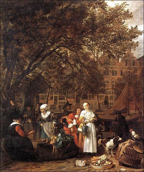 Quel peintre néerlandais, né en 1629, a réalisé le  Marché aux herbes d'Amsterdam  vers 1660, scène de genre aux tons riches et colorés, exposée au Musée du Louvre ?