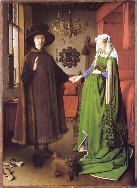 Qui a réalisé  Les époux Arnolfini , en 1434, oeuvre majeure d'un peintre primitif flamand à qui on doit aussi  L'homme au turban rouge  ?