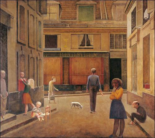 Quel peintre figuratif français, né en Suisse et mort en 2001, est l'auteur de  Passage du commerce Saint-André , réalisé en 1952 ?