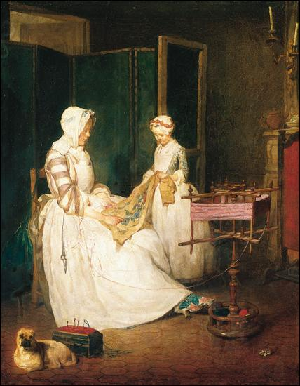 Quel grand peintre de genre du 18e siècle a exécuté ce tableau  La mère laborieuse  en 1740 ?