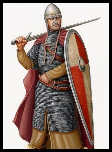 Voici un chevalier de la fin du XIe siècle, environ. Quel type d'équipement typique ne voit-on pourtant pas sur la photo ?