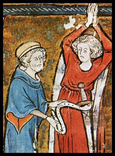 Sur cette illustration, qui est le chevalier qui est adoubé ?