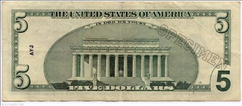 Le personnage représenté sur le billet de 5 dollars US est George Washington.