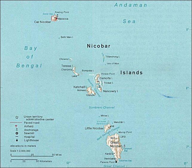 Quelle est la spécificité des îles Nicobar, faisant actuellement partie de l'Inde ?