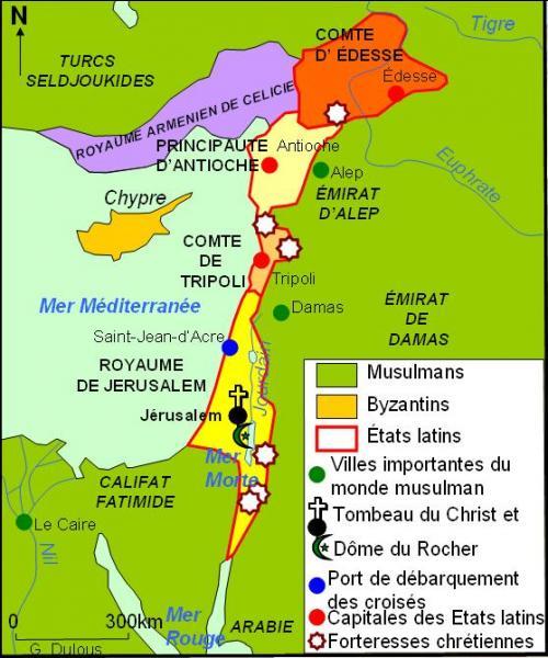 Plusieurs chefs croisés fondèrent des fiefs au Levant, connus sous le nom d'  États latins d'Orient . Lequel de ces territoires n'était pas directement issu de la Première Croisade ?