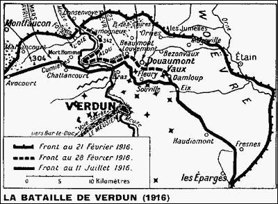 L'armée française supporte autour de Verdun l'offensive allemande de ----- à -----.