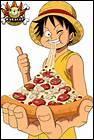 Luffy (manger) une pizza.