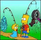 Maggie et Bart (aller) à la pêche.
