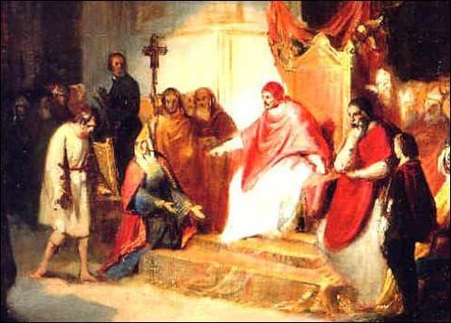 A quel pape, l'empereur Henri IV vint-il nu pieds implorer le pardon ?