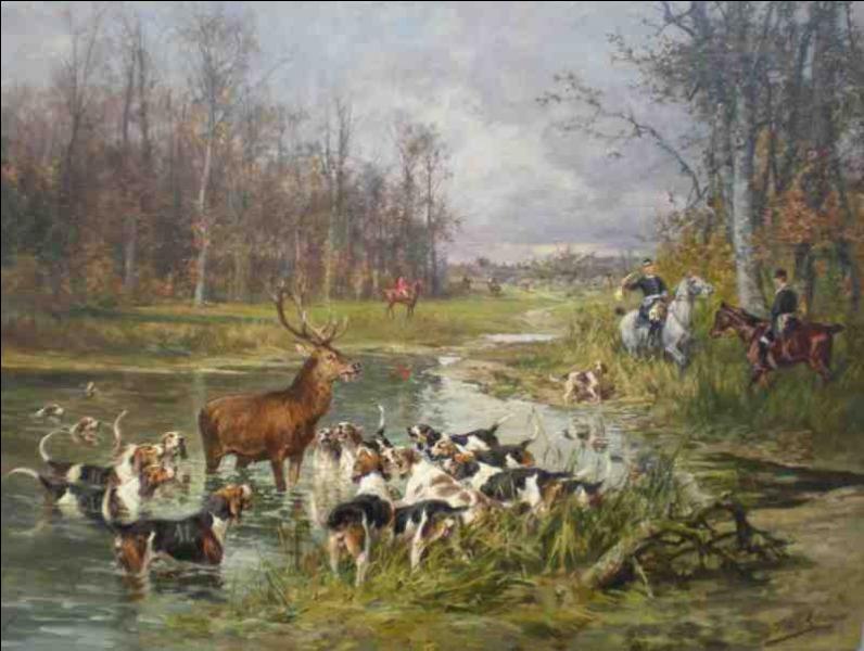 La chasse à courre est une distraction noble et le passe-temps favori des grands de l'époque. Quel artiste, né en 1831, a peint cette scène ?