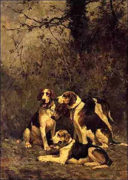 Huile du même artiste. Remarquez, comme chacun de ces chiens reflète bien sa race, son caractère propre, sa physionomie particulière, sa finesse, sous son pinceau. Que sont ces beaux spécimens ?