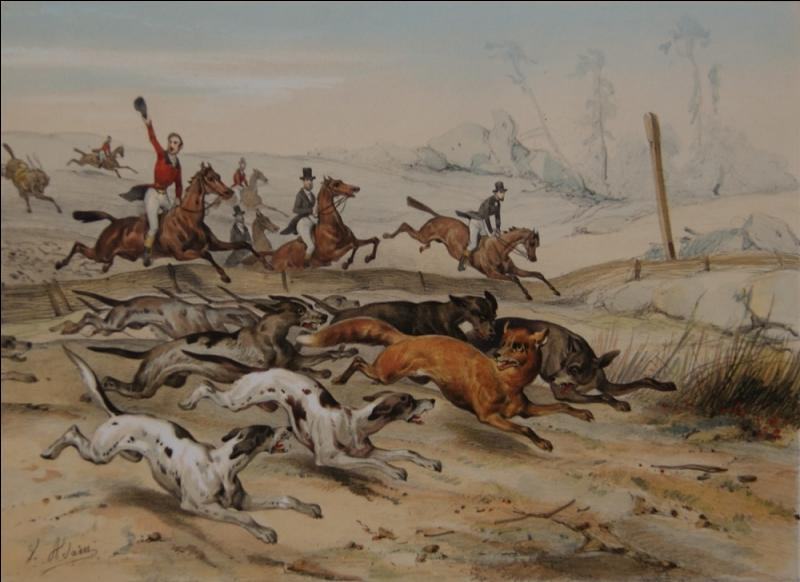 Les œuvres de ce peintre et lithographe illustrent généralement des scènes de bataille, de vénerie, de chevaux, et des natures mortes. De qui est cette scène de chasse de petite vénerie ?