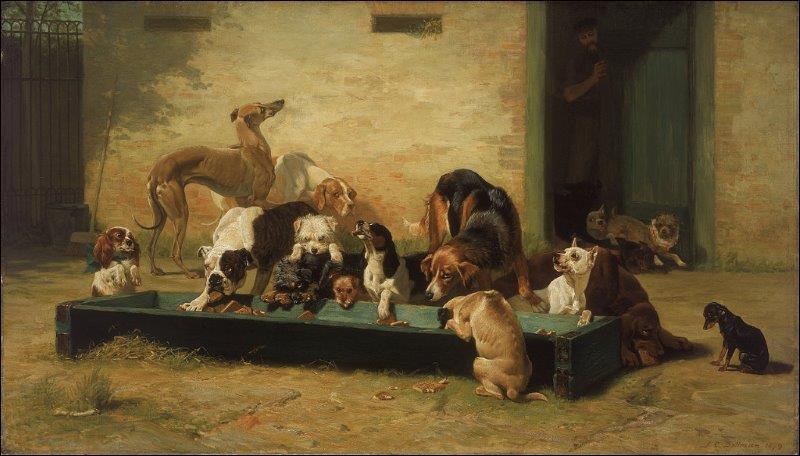 """Table d'hôtes à la maison des chiens"""" est une huile sur toile peinte par un artiste anglais né en 1851."""