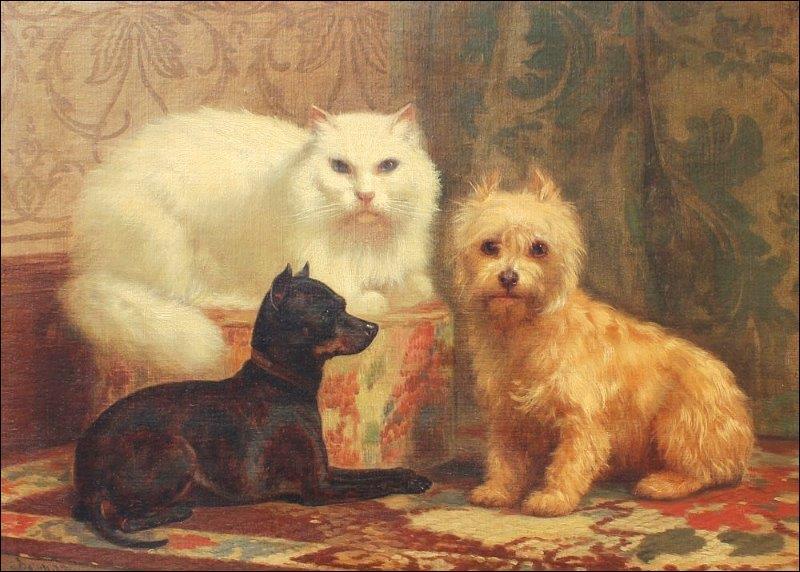 Ce tableau représente le portrait d'un chat persan, d'un chien de race Terrier et d'un ...