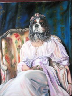 Daniel Trammer valorise ses portraits d'animaux par la tenue vestimentaire esthétique les rapprochant de l'humain. Quelle est cette chienne prenant une pose élégante et hautaine ?