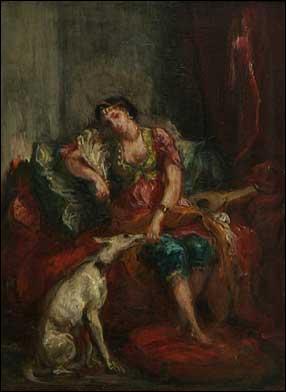 Peinture d'un portrait de lévrier et femme. Ce tableau date de 1854, et fut réalisé par :