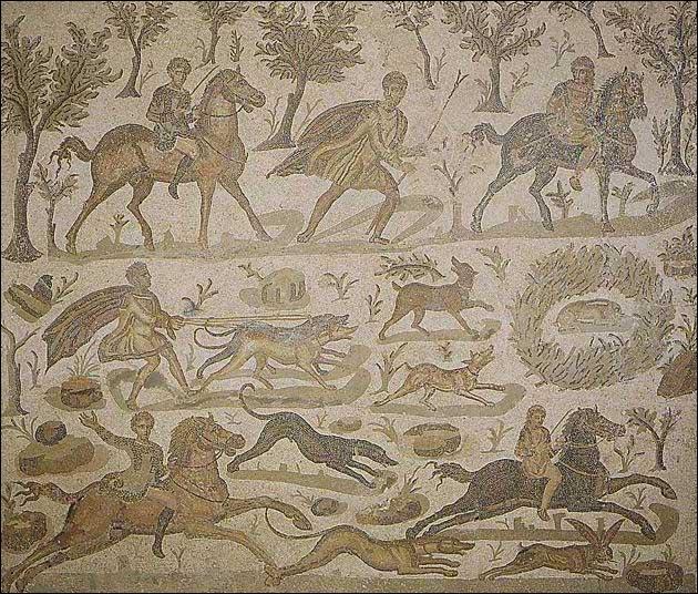 Cette scène de chasse représente les différents épisodes d'une chasse aux lièvres. Quels chiens sont à leur poursuite, au premier plan ?
