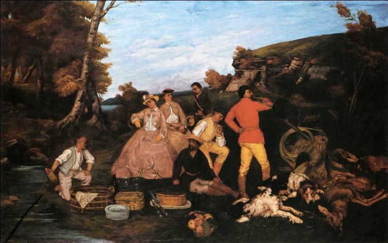 Le déjeuner de chasse  est une toile, réaliste, peinte par ---- artiste, né dans le Doubs et mort en Suisse.