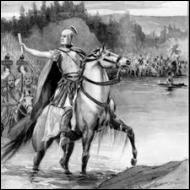Quelle célèbre expression lança-t-il en franchissant le fleuve, en ayant conscience que son coup de force aboutira soit à sa mort, soit au pouvoir ?