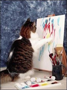 Lui, il préfère peindre ! J'adore dessiner, ce qui me fait penser à un dessinateur connu, le créateur des  Schtroumpfs  :