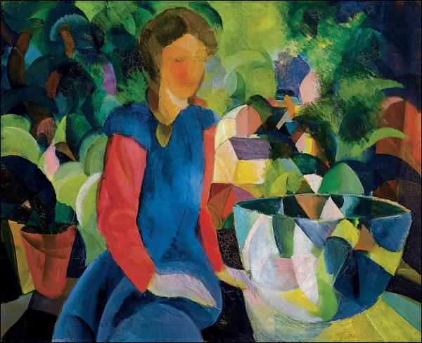 Cette jeune fille peinte par August Macke a été représentée avec un récipient en verre contenant :