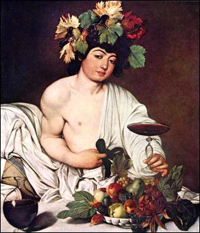 Quel est ce tableau de Le Caravage, représentant un Dieu tenant un verre ?