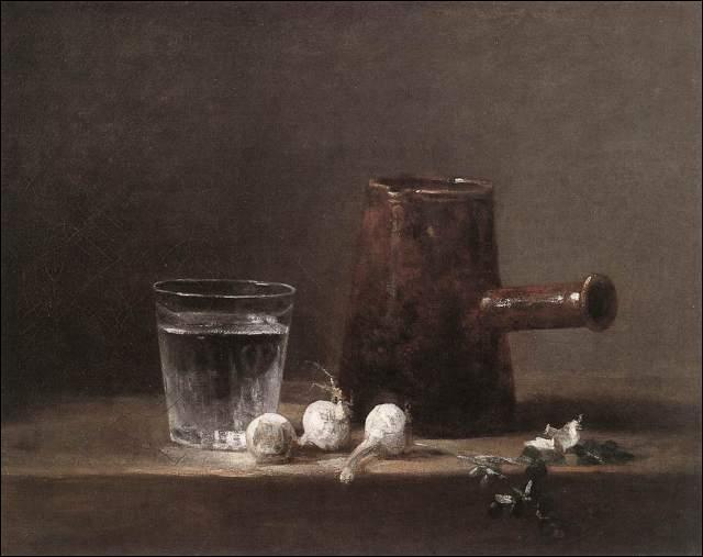 Que contient le verre de Jean-Siméon Chardin qui accompagne la cafetière ?