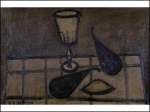 Quelle est la particularité de ce verre peint par Bernard Buffet ?