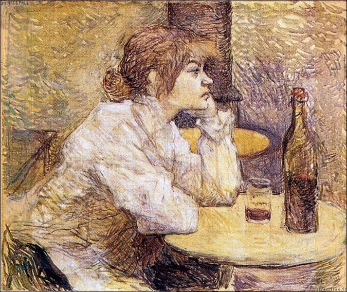 Qui a été représentée par Toulouse Lautrec devant ce verre ?
