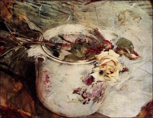 Légèreté et élégance dans ce tableau intitulé  Roses dans un vase de porcelaine . Il est l'oeuvre d'un peintre et illustrateur italien, également portraitiste. Qui est-il ?