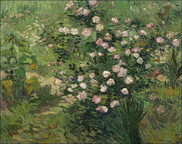 A quel grand peintre post-impressionniste doit-on ces  Roses , peintes en 1889, un an avant sa mort tragique ?
