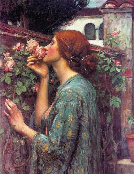 Quel peintre britannique, célèbre pour ses tableaux de femmes inspirés de la mythologie et de la littérature, a réalisé  Le parfum de la rose   en 1908 ?