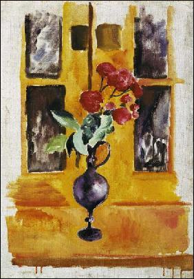 Roses japonaises dans le verre bleu , toile exécutée en 1910, est l'oeuvre d'un peintre expressionniste allemand. Qui est ce peintre ?