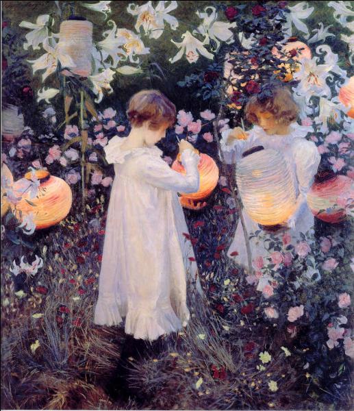 Carnation, Lily, Lily Rose  est une grande composition peinte en extérieur, représentant deux petites filles allumant des lanternes dans un jardin anglais. Quel peintre américain en est l'auteur ?