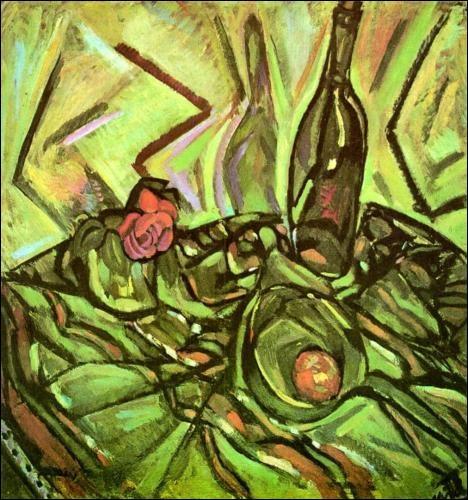 A quel peintre du mouvement surréaliste, doit-on  Nature morte avec rose  ?