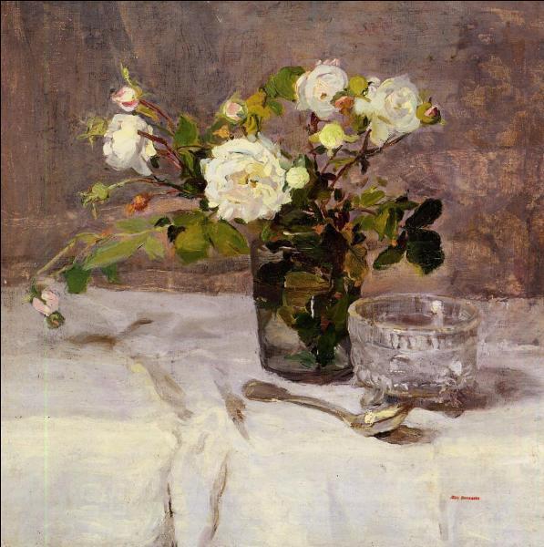 Beaucoup de délicatesse dans cette nature morte intitulée  Roses dans un verre . Quelle femme peintre impressionniste en est l'auteur ?