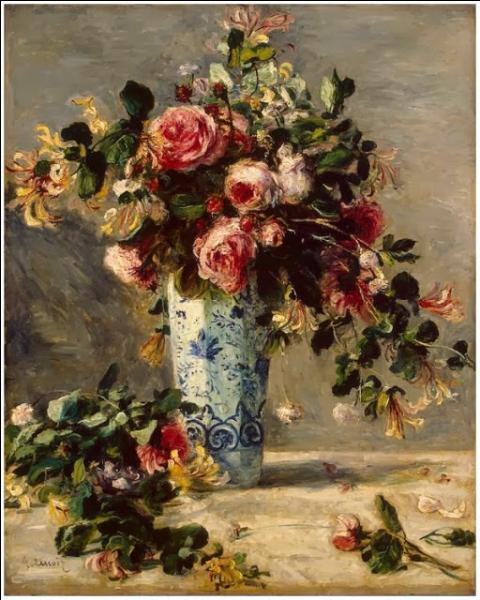 Par quel peintre impressionniste a été réalisé, vers 1880, ce tableau intitulé  Roses et jasmin dans un vase de Delft ?