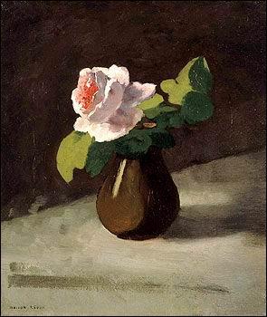 Quel peintre symboliste de la fin du 19e siècle, né à Bordeaux, a réalisé cette  Rose dans un vase  ?