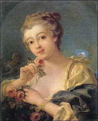 Cette  Jeune femme au bouquet de roses  est l'oeuvre d'un artiste du 18e siècle, représentant typique du style rococo. Qui est-il ?