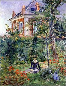 Qui a peint cette maison sur cette toile intitulée  Fille dans le jardin de Bellevue  ?