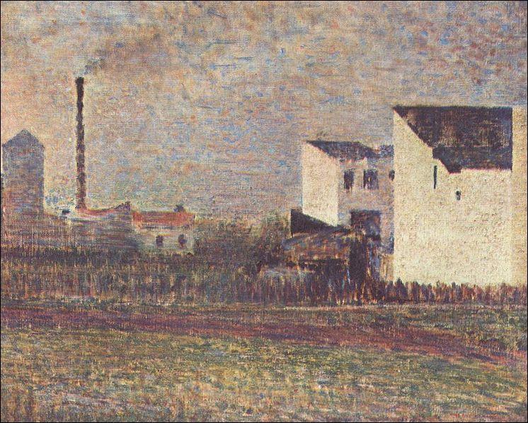 Qui a peint cette maison sur cette toile intitulée  la banlieue  ?