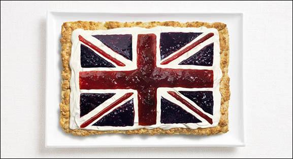 Ce drapeau est fait à base d'un scone, de crème et confiture. Quel pays représente-t-il ?