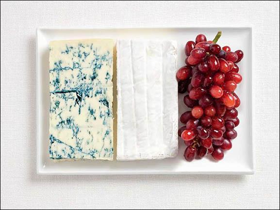 Ce drapeau est fait à base de fromage à pâte persillée, de brie et de raisins. Quel pays représente-t-il ?