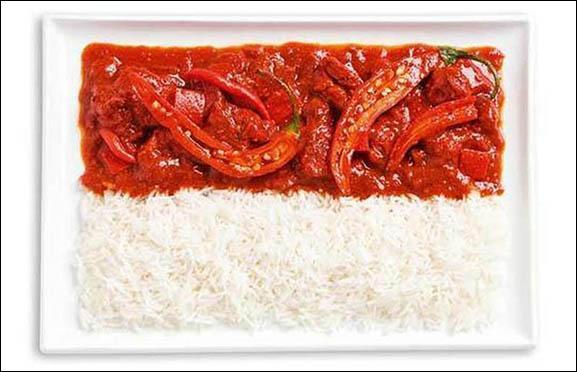 Ce drapeau est fait à base de sambal et de riz. Quel pays représente-t-il ?