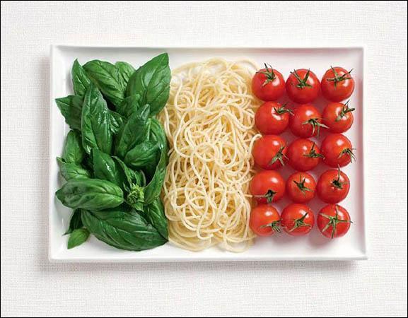 Ce drapeau est fait à base de basilic, de pâtes et de tomates. Quel pays représente-t-il ?