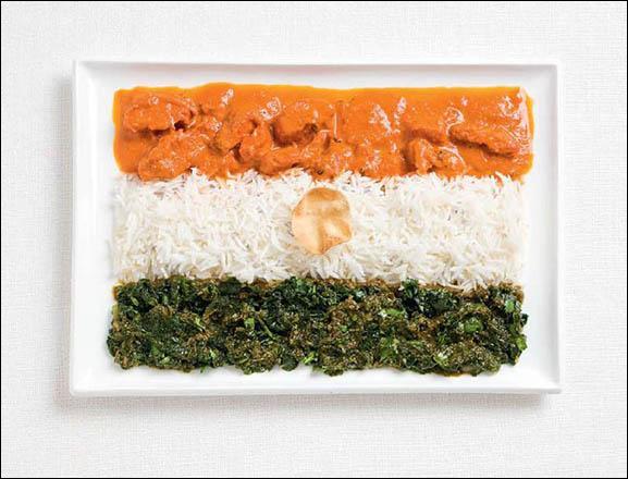 Ce drapeau est fait à base de curry, de riz et d'une galette Papadum. Quel pays représente-t-il ?