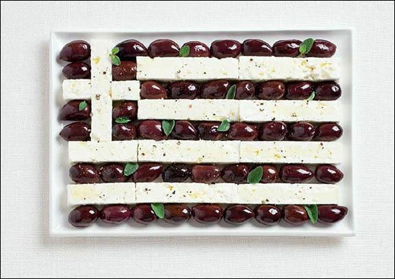 Ce drapeau est fait à base d'olives kalamata et de fromage de feta. Quel pays représente-t-il ?