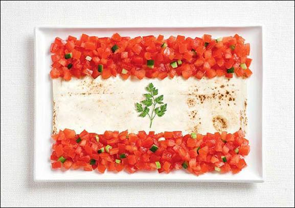 Ce drapeau est fait à base de lavash, de fatouche et d'herbes de printemps. Quel pays représente-t-il ?