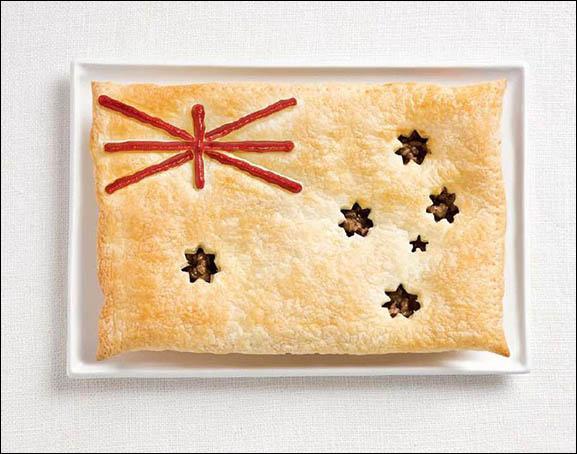 Ce drapeau est fait d'une meat pie (tarte à la viande) et en sauce. Quel pays représente-t-il ?